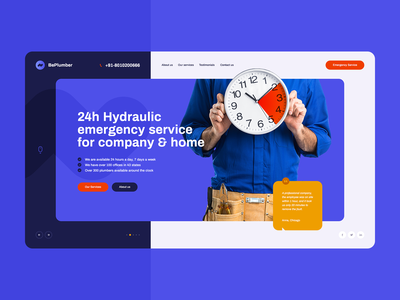 Hydraulic Emergency 🚨💧 branding illustration wordpress theme ux ui poland agency service plumber ladingpage onepage webdesign webdesigner website web