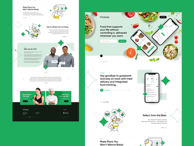 FitGenie ✨ animation poland fitness branding mockup iphone food ux ui healthy fit illustration app mobileapp landingpage onapage website webdesigner webdesign web