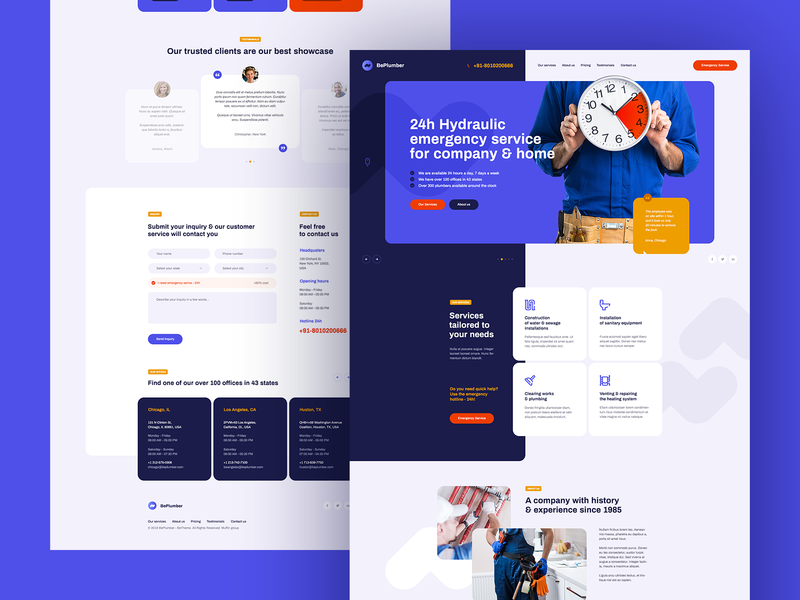 Hydraulic Emergency 🚨💧 visiontrust poland agency design wordpress theme icons illustration landingpage onepage ux ui webdesigner webdesign website web