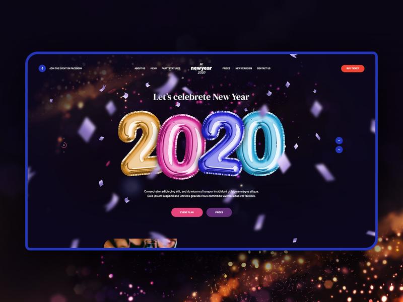 New Year 2020 🥳 design app keyvisual illustration party baloons landingpage onepage newyear2020 newyear wordpress theme ux ui webdesigner webdesign website web