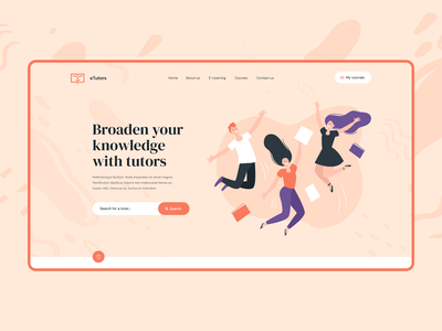 eTutors 📖 illustration vector visiontrust design app branding wordpress theme onepage landingpage ux ui webdesigner webdesign website web