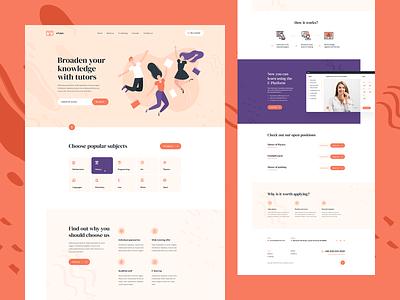 eTutors 📖 poland design branding visiontrust landingpage onepage ux ui minimalist teacher tutor school illustration webdesigner webdesign website web