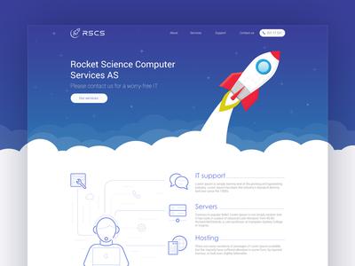 Design for Rocket Science Computer Services company space website web ux ui site page blue rocket frontpage design clean