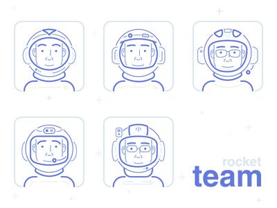 Astronauts. Rocket team