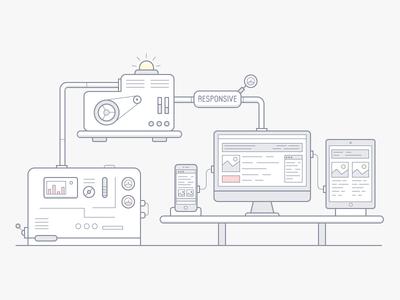 The mechanism of construction website. Illustration simple flat design vector line illustration icon experiment mechanism build clean branding