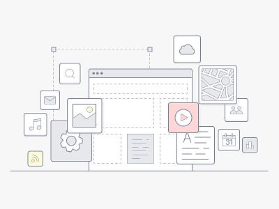 Illustration of website creation website vector simple line illustration icon flat site design module clean branding