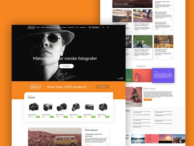 The design of the website for foto.no website web ux ui site photo page frontpage design clean orange
