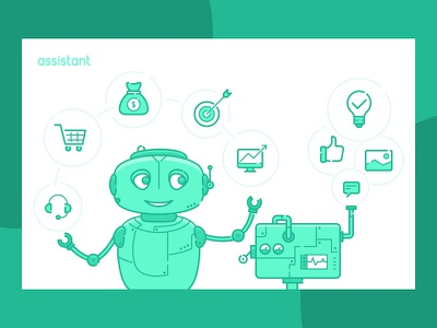 Robot assistant for IT company line clean flat simple character robot branding vector icon design illustration