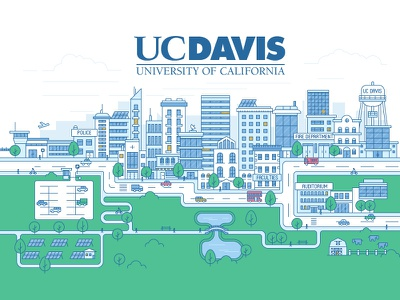 Illustration for major California university house landmark flat city university skyscrapers simple line illustration design clean branding