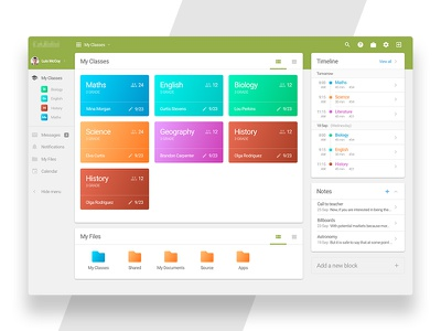 Dashboard for Study System ux ui teacher university school management system subject green dashboard app study
