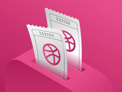 2 Dribbble Invites Giveaway toster vector shot ticket players invites invite invitation giveaway free dribbble designers
