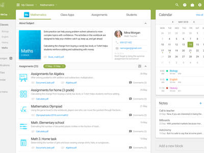 Subject with assignments - Study System study app dashboard green system subject school assignment teacher ui ux