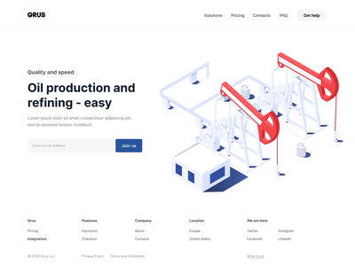 Oil refining - homepage refining refine oil company branding artist typography web red vector style colors colorful color ux ui design flat illustration illustrator