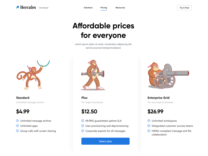 Hercules - Subscription Page monkey web character flat uiux price green blue artist colorful colorscheme color illustraion style design vector subscription colors illustrations illustrator