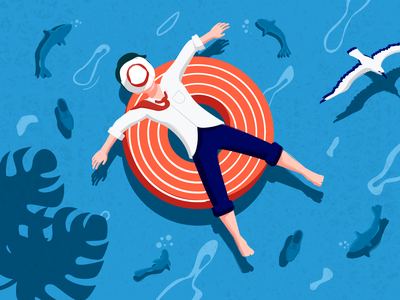 Relaxation web calm blue red circle swimming circle sea water birds fish character design relaxation rest colorful colors vector flat illustration illustrator
