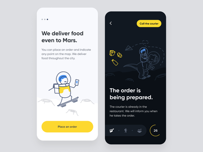 Delivery app food yellow mobile app style illustration dinosaur moon mars courier character colorful colors flat vector delivery illustrator design ux ui
