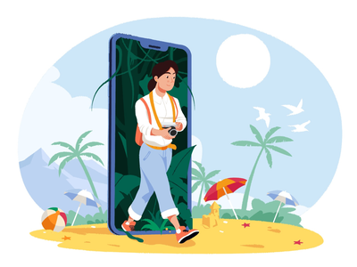 Traveler camera blue concept beach character jungle sunny traveler vector ui web girl artist style design colorful colors slow illustration illustrator