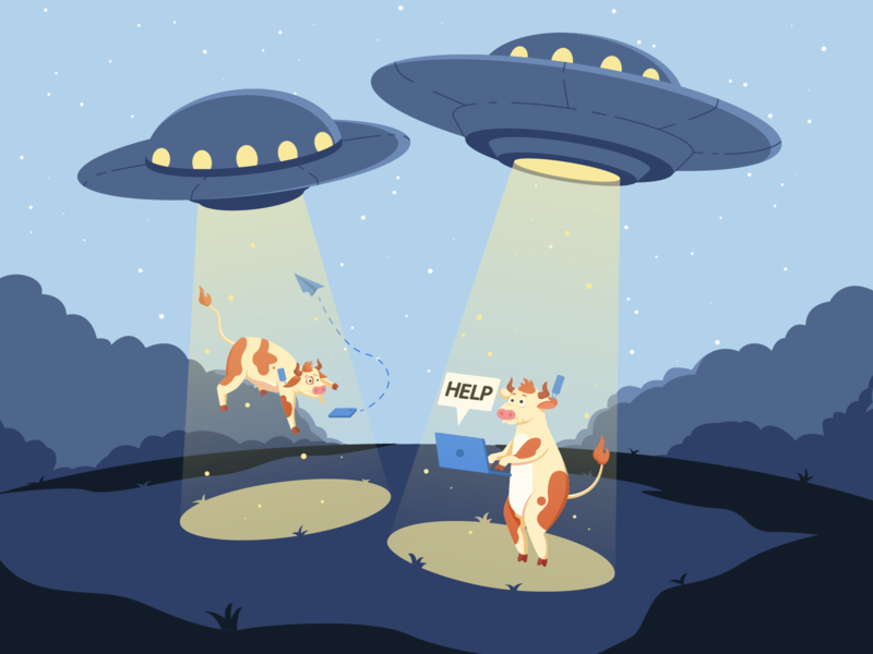 UFO - Cows blue colors ufos desktop web style brand flat characters character colorful color vector branding cow ufo illustration illustrator design ui