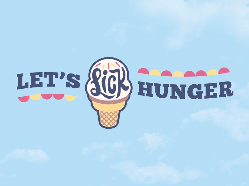 Let's Lick Hunger ice-cream summer wip non-profit color branding mark logo