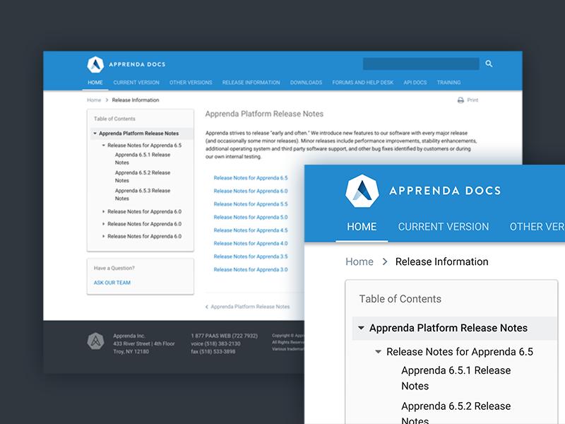 Apprenda Docs Site ui material web design