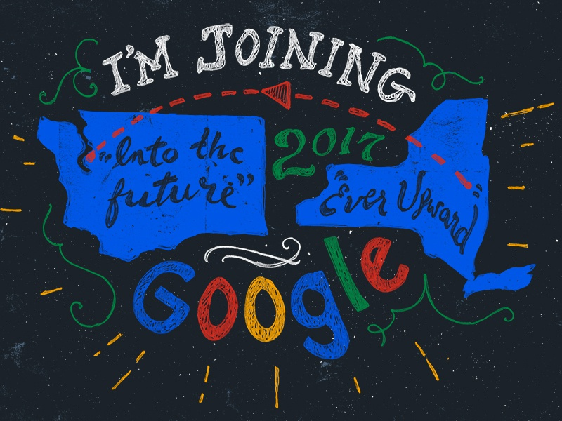 I'm joining Google! map cloud google texture illustration hand-lettering lettering