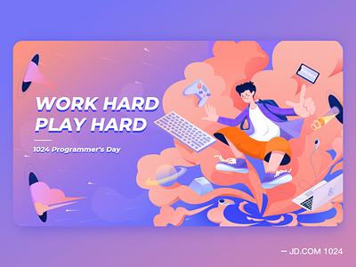 1024 Programmer's Day-Plan B web branding illustration design