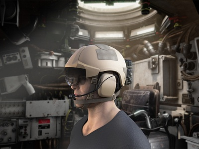 Military Helmet with additive reality glasses