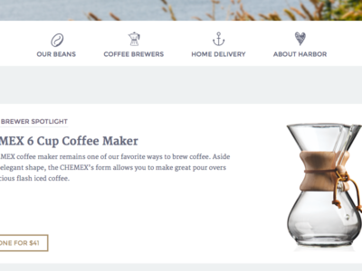Teaser responsive web delicious brewer chemex site coffee