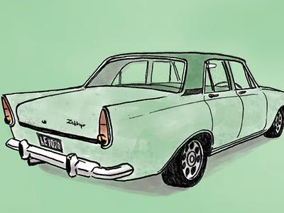 A Kiwi Classic classic car wine zephyr illustration car new zealand winery