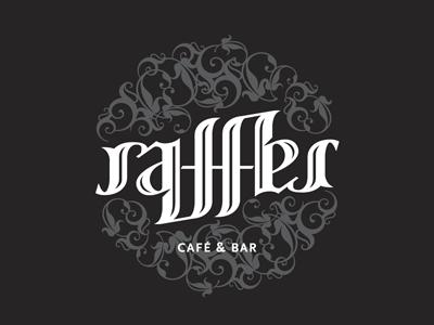 Raffles Cafe - Ambigram ambigram typography type logo cafe