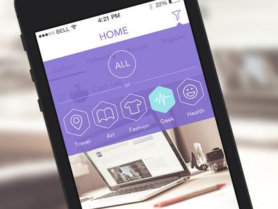 Homepage of Yj app app ui ios7 flat iphone filter graph homepage design