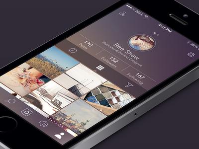 Profile app profile ui ios7 flat iphone filter graph design