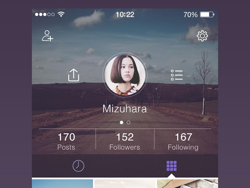 Final Profile app design flat graph ios7 iphone ui ux profile