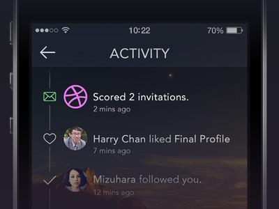 2 Invitations activity notification app profile ui ios7 iphone graph design dribbble invite