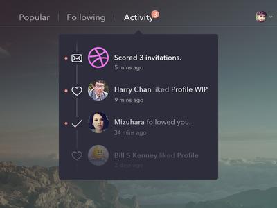 3 Dribbble Invitations ui design graph flat dribbble invite invitation notification activity web