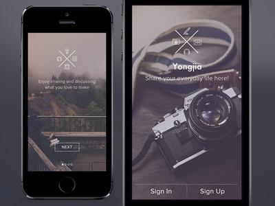 Start Screen app ui ios7 flat iphone start graph splash design
