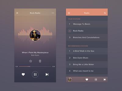 Radio app ui ux design concept music radio