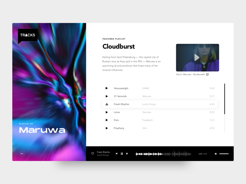 TRACKS - Discover playlists design inspiration website playlists player ui music dj webdesign ux ui