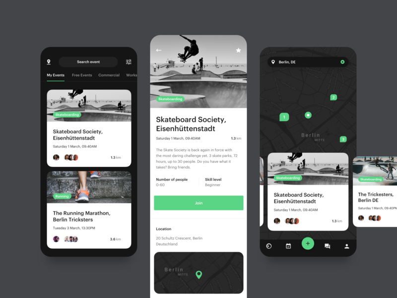SPRT App - Events application mockup navigation map events dark minimal clean typography design mobile android ios app ux ui