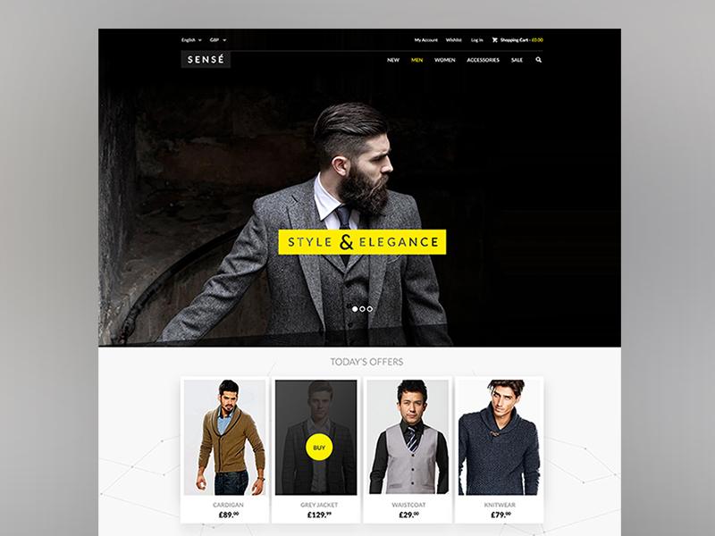 Sense - Magento design magento web website ecommerce layout template shopping ui button app interface