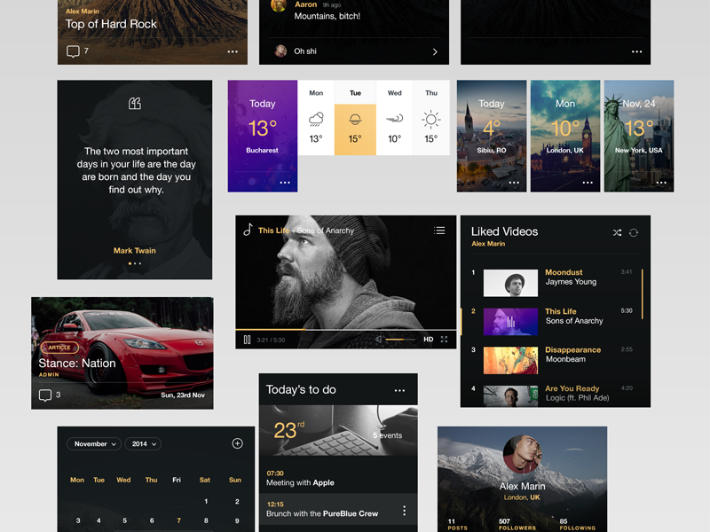 Black&Yellow UI KIT ui kit comments profile weather video player calendar time calculator search button