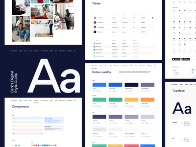 Bark — Style Guide photography palette colour guide style clean ux typography web design ui