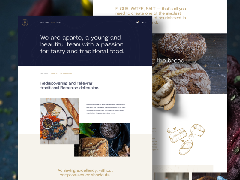 aparte — About food restaurant about bakery icon branding logo mobile typography design web ui
