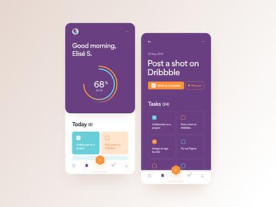 Tasks list progress to-do tasks android ios typography dailyui app ux clean mobile design web ui