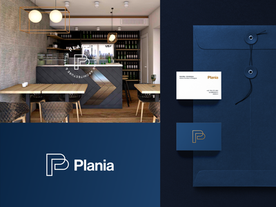 Plania Logo badge stamp letterhead letter card business envelope typography symbol design interior architecture stationery type logotype logo
