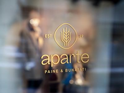 aparte —Logotype design vector line gold bread bakery slogan font type symbol branding logotype logo