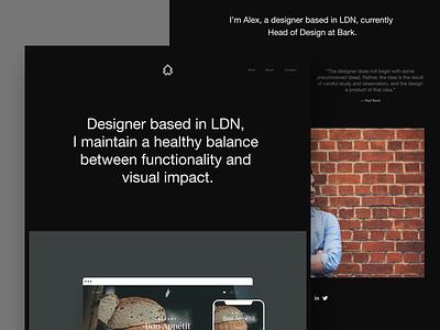 alex.mn — Personal Portfolio symbol logo typography photo dark website designer portfolio landing site web design ux ui