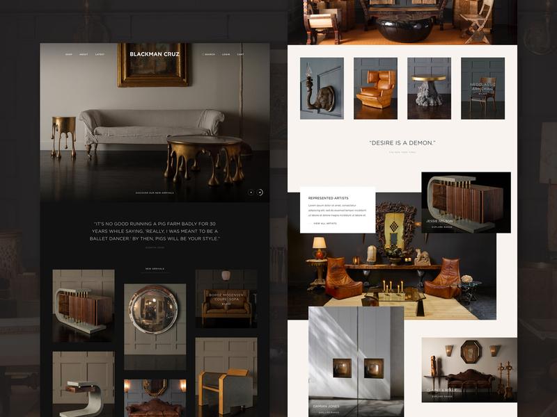 Blackman Cruz grid website layout web furniture design antiques furniture shop clean minimal homepage ux ui