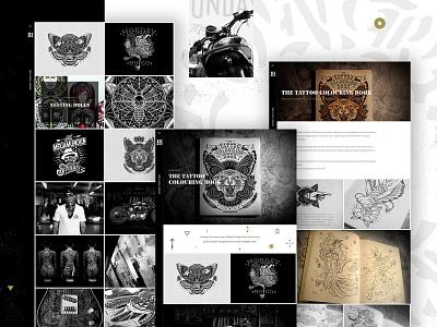 MegaMunden responsive clean website contrast tattoo cafe racer tattoo artist homepage ux ui