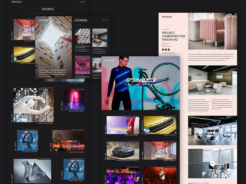 Penson responsive interiors architects portfolio website layout web clean minimal homepage ux ui